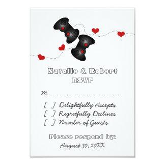Geeky Gamers Wedding Response Card (Dark) 9 Cm X 13 Cm Invitation Card