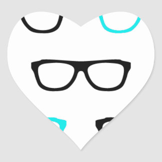 geeky glasses blue geek heart sticker
