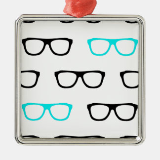 geeky glasses blue geek Silver-Colored square decoration