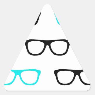 geeky glasses blue geek triangle sticker