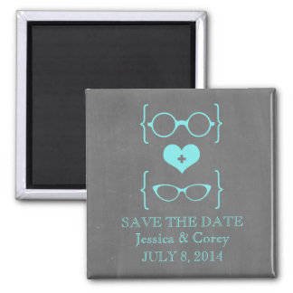 Geeky Glasses Chalkboard Save the Date Magnet