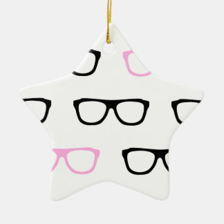 geeky glasses pink geek ceramic star decoration