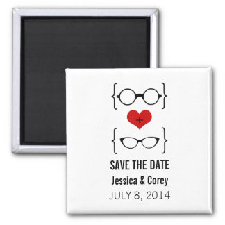 Geeky Glasses Save the Date Magnet