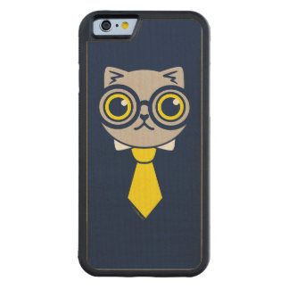 Geeky Gray Kitty Cat Carved® Maple iPhone 6 Bumper
