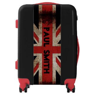 Geeky Grunge UK Flag Custom Name Text Luggage