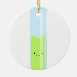 Geeky kawaii test tube round ceramic decoration