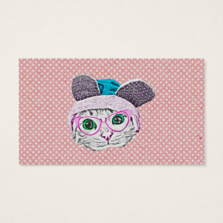 Geeky Kitty Cat with Bunny Hat & Glasses Business Card