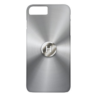 Geeky Metal Push Button Faux Stainless Steel iPhone 7 Plus Case