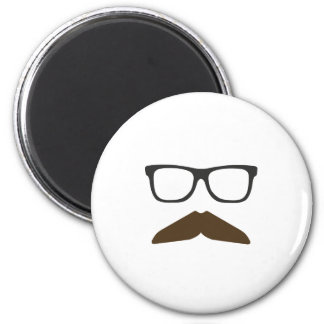 Geeky Moustache 6 Cm Round Magnet