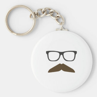 Geeky Moustache Basic Round Button Key Ring