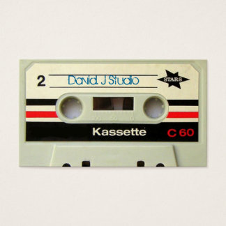 Geeky nerdy 1980s cassette retro cassette tape business card