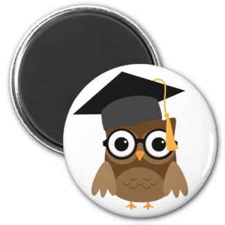 Geeky Owl with Glasses and Cap Graduation Magnet