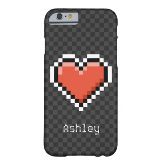 Geeky red pixel heart with custom name barely there iPhone 6 case