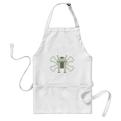 geeky robot and crossbones apron