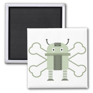 geeky robot and crossbones magnets