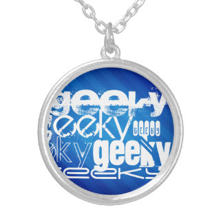 Geeky, Royal Blue Stripes Custom Necklace