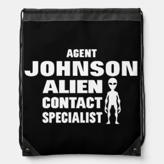 Geeky Sci-Fi Alien Investigator Personalized Drawstring Backpacks