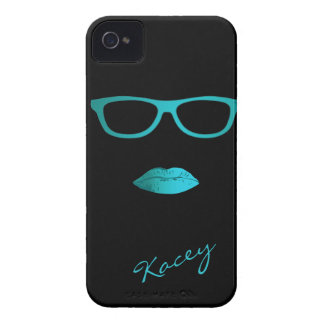 Geeky Teal Blue and Lips with Glasses iPhone 4 Case