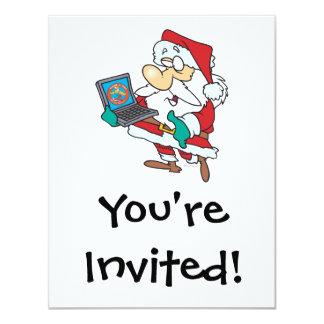 geeky technology savvy santa with a laptop cartoon 11 cm x 14 cm invitation card