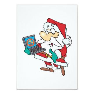 geeky technology savvy santa with a laptop cartoon card