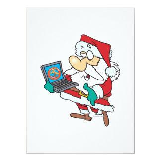 geeky technology savvy santa with a laptop cartoon 17 cm x 22 cm invitation card