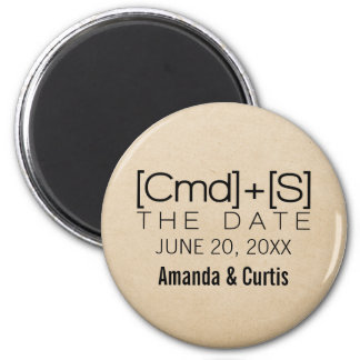 Geeky Typography 2 Save the Date Magnet, Black 6 Cm Round Magnet