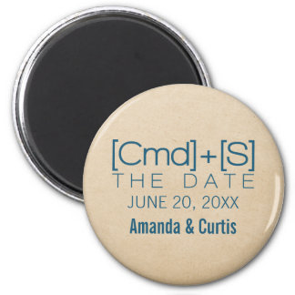 Geeky Typography 2 Save the Date Magnet, Blue 6 Cm Round Magnet