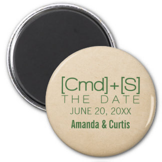Geeky Typography 2 Save the Date Magnet, Green 6 Cm Round Magnet