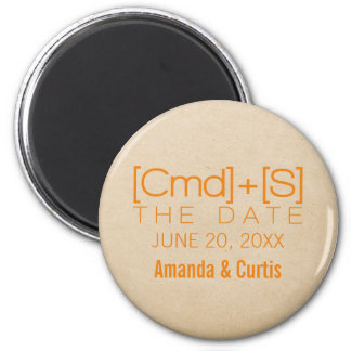 Geeky Typography 2 Save the Date Magnet, Orange 6 Cm Round Magnet
