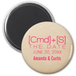 Geeky Typography 2 Save the Date Magnet, Pink 6 Cm Round Magnet