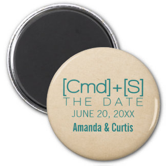 Geeky Typography 2 Save the Date Magnet, Teal 6 Cm Round Magnet