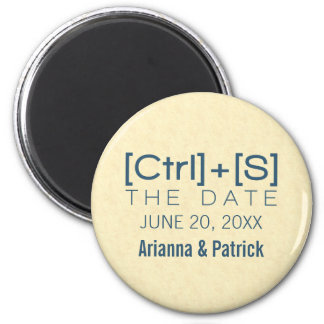 Geeky Typography Save the Date Magnet, Blue 6 Cm Round Magnet