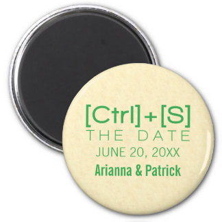 Geeky Typography Save the Date Magnet, Green 6 Cm Round Magnet