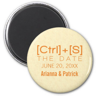 Geeky Typography Save the Date Magnet, Orange 6 Cm Round Magnet