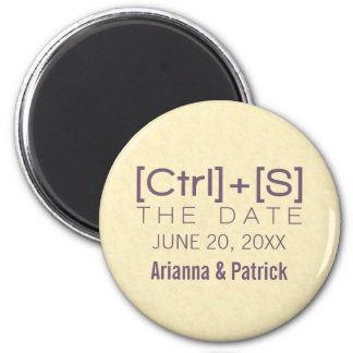 Geeky Typography Save the Date Magnet, Purple 6 Cm Round Magnet