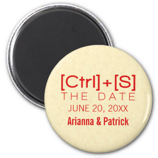 Geeky Typography Save the Date Magnet, Red 6 Cm Round Magnet