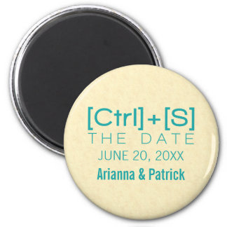 Geeky Typography Save the Date Magnet, Teal 6 Cm Round Magnet