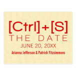 Geeky Typography Save the Date Postcard, Red