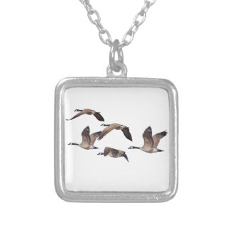 Geese in flight silver plated necklace