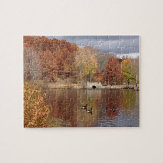 Geese in Reflected Fall Colors - Jigsaw Puzzle