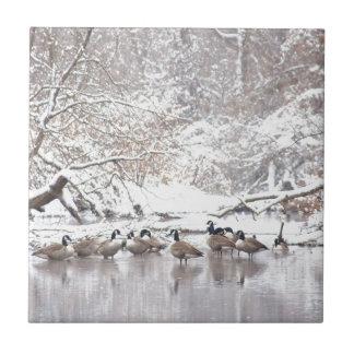 Geese in Snow Ceramic Tile