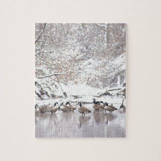 Geese in Snow Jigsaw Puzzle