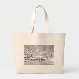 Geese in Snow Large Tote Bag