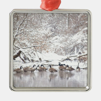Geese in Snow Metal Ornament