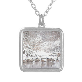 Geese in Snow Silver Plated Necklace