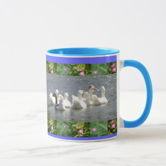 geese in the water with floral border mug