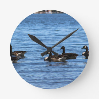 Geese on Lake Round Clock