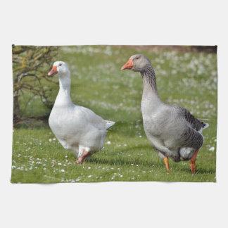 Geese walking on grass tea towel