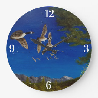 Geese Wall Clock with Canadian Geese in Flight.