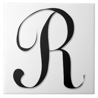 Geessele Letter R in Black Monogram Tile